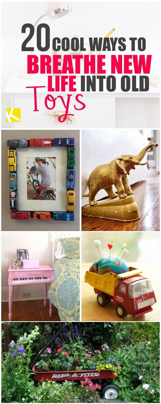 Before you throw away that toy soldier that's been ignored for years (or replaced this past Christmas), consider repurposing it and other old toys. Here are 20 ideas to get you started.