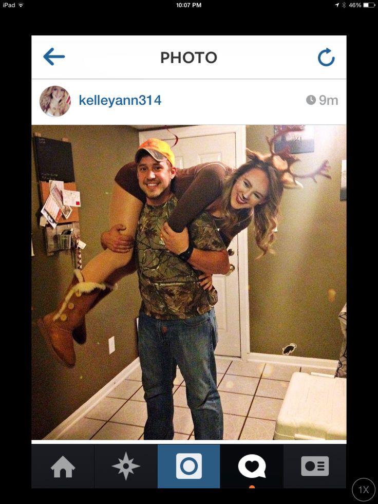 Couples halloween costume. Deer and hunter. Deer makeup