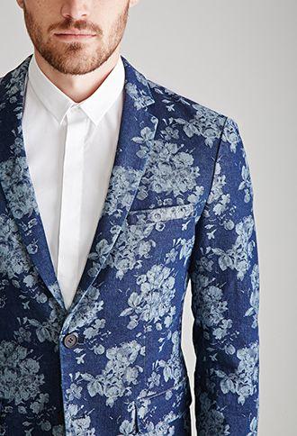 Rose-Patterned Denim Blazer | 21 MEN - 2000100094