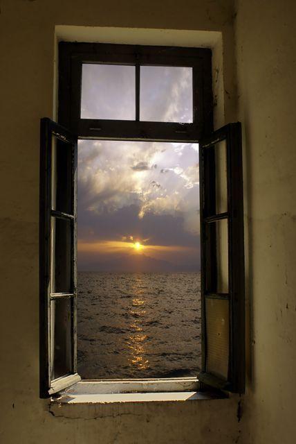 Sunset through the old window by http://papadimitriou.deviantart.com on @deviantART