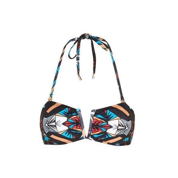 Aztec Bandeau Bikini Top by Jaded London (£30) ❤ liked on Polyvore featuring swimwear, bikinis, bikini tops, multi, topshop bikini, strappy bikini top, topshop swimwear, strappy swimwear and aztec bandeau top