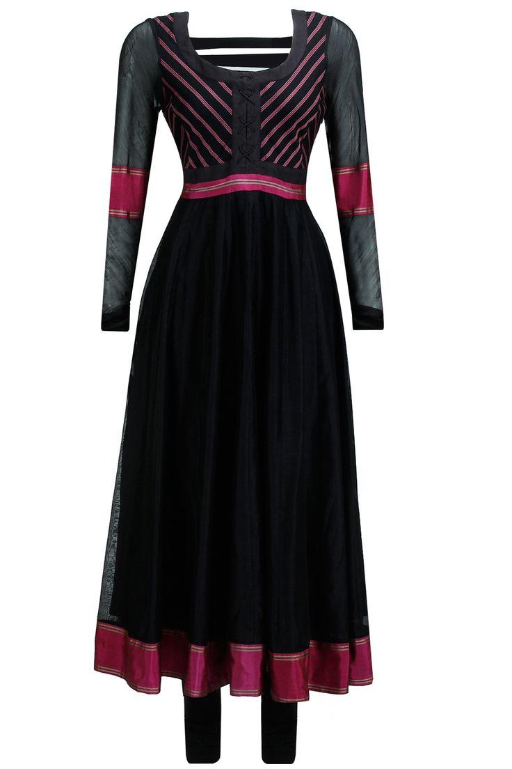 Black striped yoke kalidaar kurta set available only at Pernia's Pop-Up Shop.