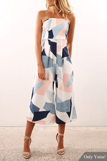 Sexy Off Shoulder Random Geometry Floral Print Jumpsuit