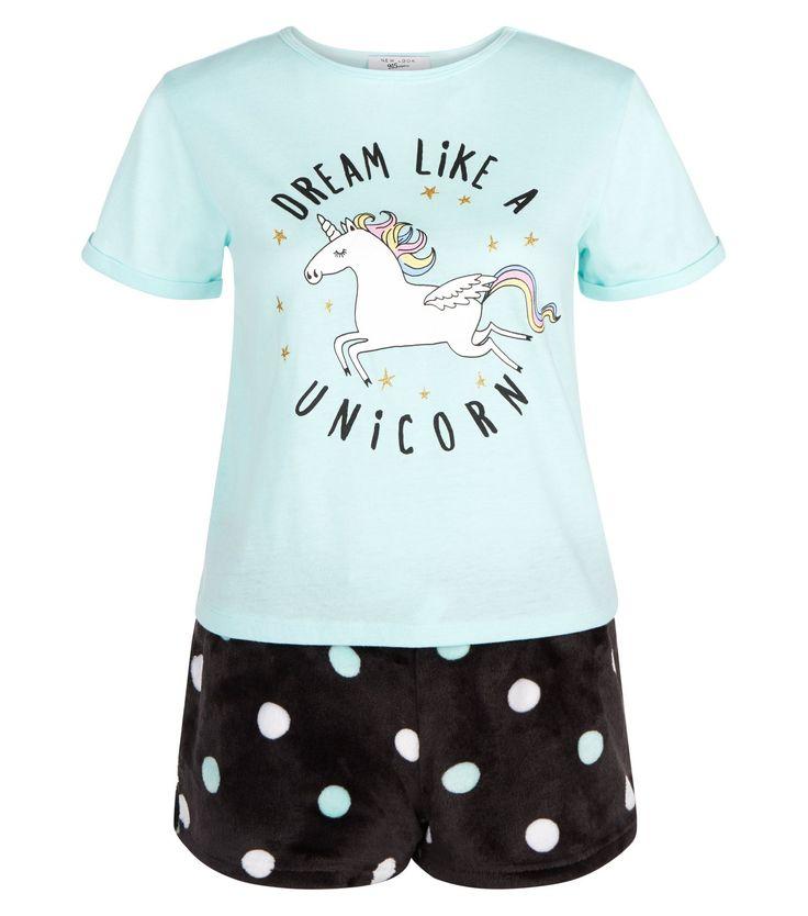 Ados- Ensemble de pyjama vert menthe Dream Like A Unicorn   New Look