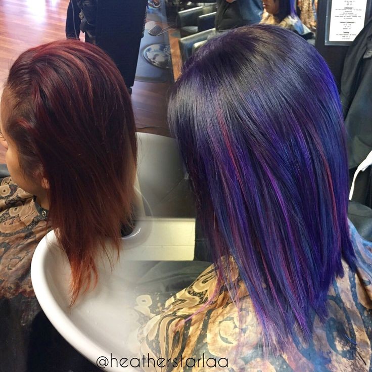 All over violet with blue and pink ombre highlights. Blue ...