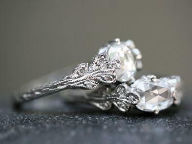Cathy Waterman- Love of My Life - Page Nine - Rose Cut Double Leaf Diamond Rings