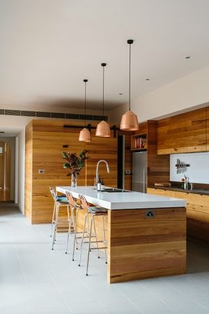 like this kitchen - wooden joinery, island bench, feature downlights across the bench & general layout, concrete floor ?. Like white base.