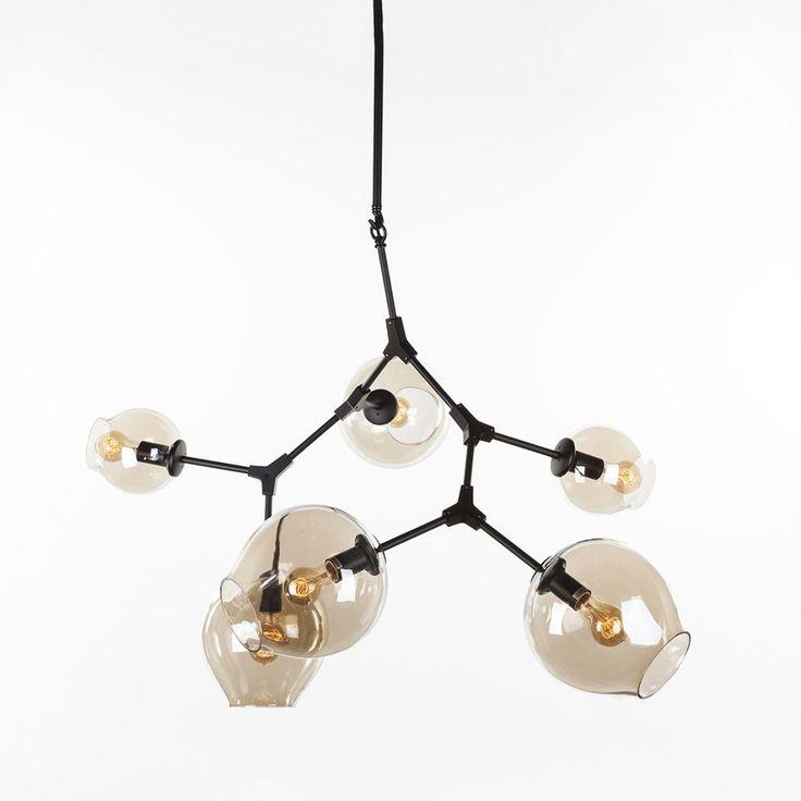 Modern Six Globe Branching Ceiling Lamp - Black