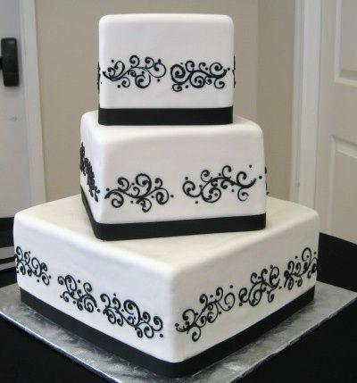 modern wedding cakes: Black And White, Modern Wedding Cakes, Wedding Ideas, Cake Ideas, Image, White Weddings, Black Wedding Cakes, White Wedding Cakes