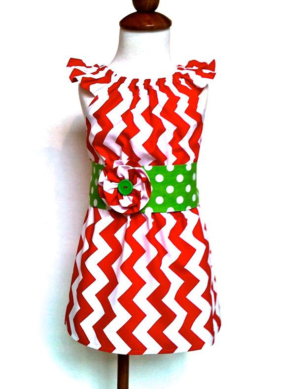 Girls Christmas Dress Toddlers Christmas Dress Red Chevron with Green Polka Dot Sash Sizes 2T - 6 by 8th Day Studio
