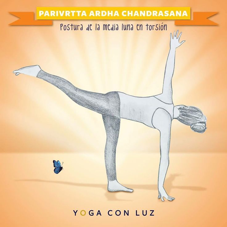 """Esta postura se llama """"Parivrtta Ardha Chandrasana"""" y sus beneficios son:  -Fortalece el abdomen, tobillos, muslos, nalgas, y la columna vertebral. Se extiende el beneficio a las ingles, tendones, pantorrillas y hombros. -Estira el pecho y la columna vertebral. -Mejora la coordinación y el sentido del equilibrio. -Ayuda a aliviar el estrés. -Mejora la digestión. -Contraindicaciones Si tienes problemas cervicales, no gires la cabeza para mirar hacia arriba, sigue mirando hacia adelante y…"""