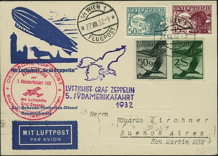 5. South America Flight 1932, decorative card from Vienna 27. 8. with amongst other things 2 S. airmail in colorful mixed franking, via Stuttgart with connection flight, both flight stamp on face, addressed to Buenos Aires with arrival 6. 9., scarce...