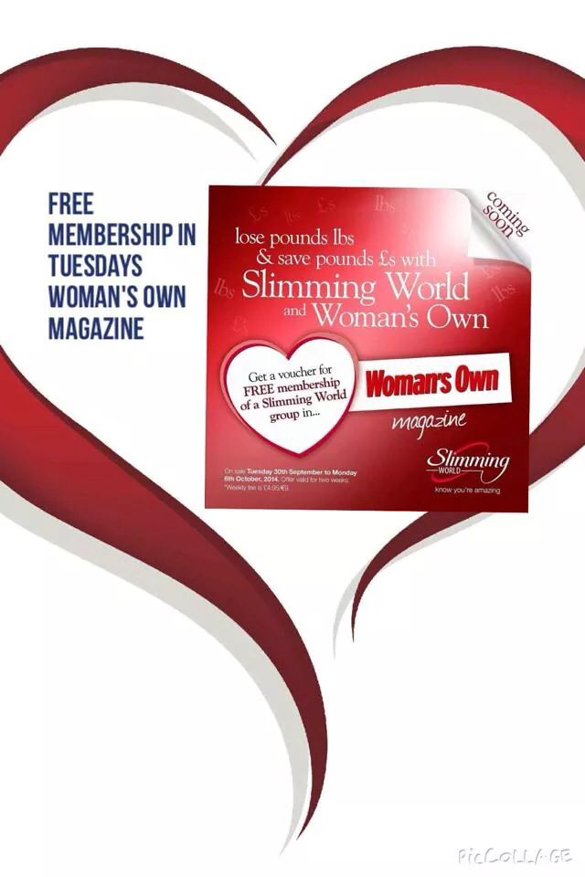 Woman's own mag Tuesday 30th September has a Free Membership voucher for Slimming World at Da Vinci's