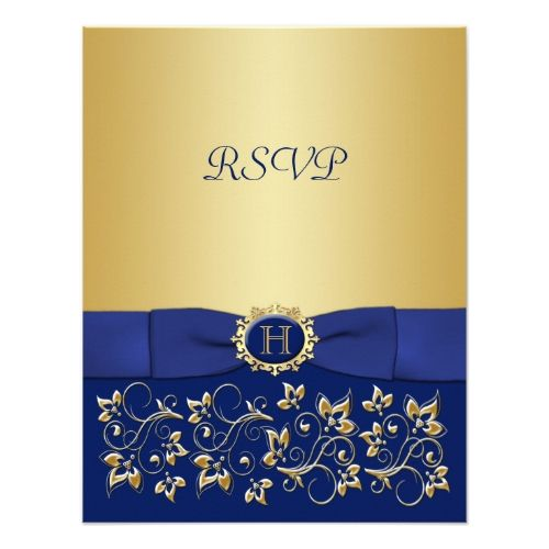Blue Wedding Invitations Blue, Gold Floral Scroll Wedding Reply Card