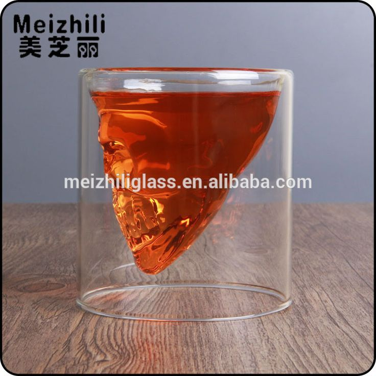 250ml double wall Whisky Glass/Doomed Crystal Skull Shot Glass/Crystal Skull Head Vodka Shot Wine Glass