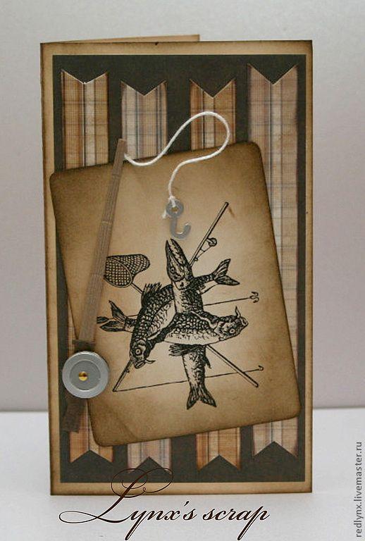 Котят, скрапбукинг открытки для рыбака