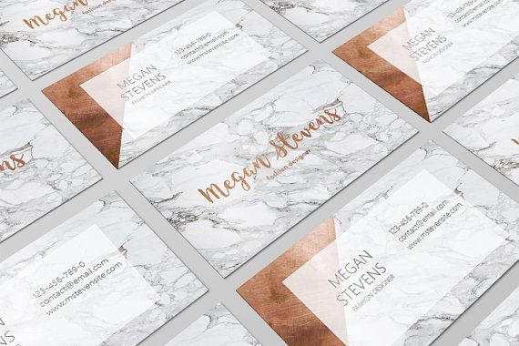 Marble Copper Business Card / Rose Gold Business Card / Fashion Designer Business Card / Geometric Business Card / Calling Cards