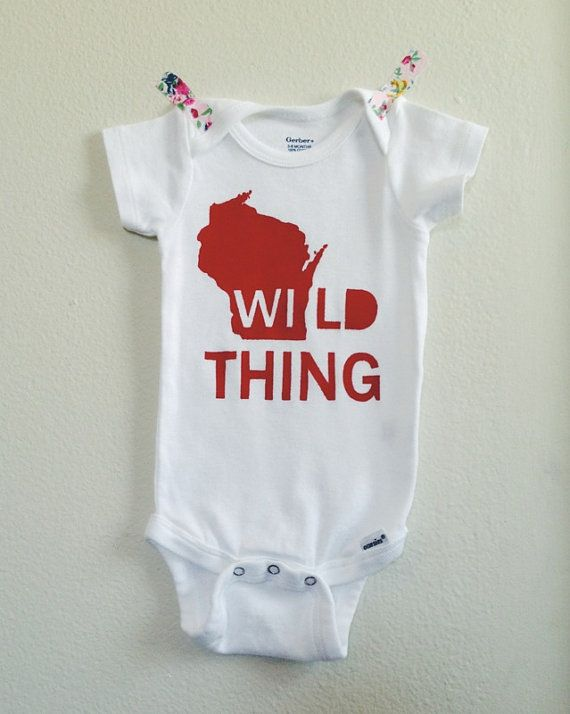 Wild Thing  a Wisconsin onesie by LulaBall on Etsy  baby gift, baby shower gift, baby boy, baby girl, unisex onesie, hipster baby, baby clothes, unique baby clothes, infant apparel, funny onesie, stylish baby clothes, team green, Badgers, Wisconsin, Madison, WI