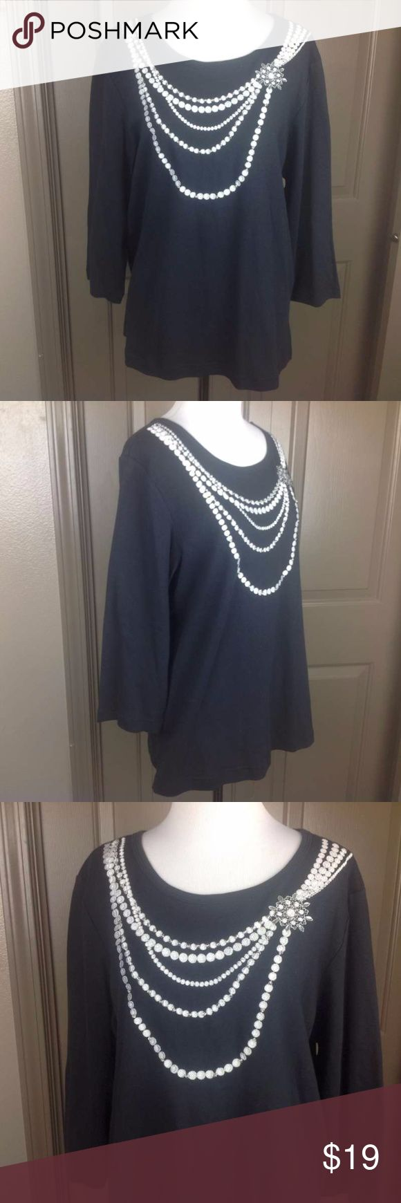 NWT Blaine Trump Top Large Embellished Beaded Embr New with tags; NWT Blaine Trump Top Large Embellished Beaded Embroidered 3/4 Sleeve 100% Cotton;  21.5 inch across bust 25.5 inch length Blaine Trump Tops Blouses