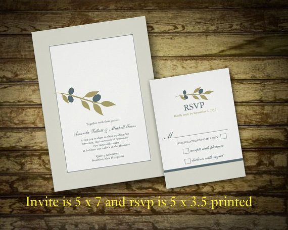 Vineyard Wedding Invitation   Winery Invitation Olive Branch And Modern  Text   DIY Printable Wedding Invitation