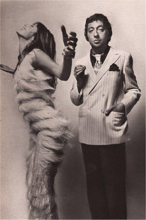 [Jane Birkin & Serge Gainsbourg, shot by Guy Bourdin in 1970.]