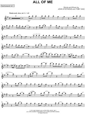 "John Legend ""All of Me - C Instrument"" Sheet Music (Flute, Violin, Oboe or Recorder) - Download & Print"