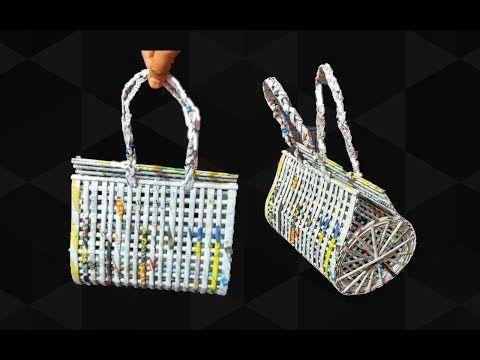How to make a bag using newspaper   Newspaper Purse   Art with Neha 99 - YouTube