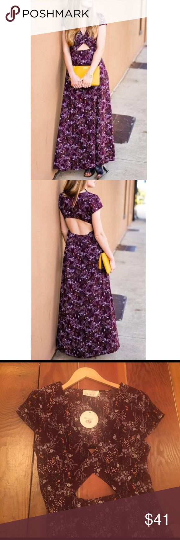 NEW gorgeous pattern maxi dress Great for a wedding or just a night out on the town- maxi dress with skin showing at peak in the front and fabulous open back with side slits up the side. Size L. Brand new, never been worn. Dresses Maxi
