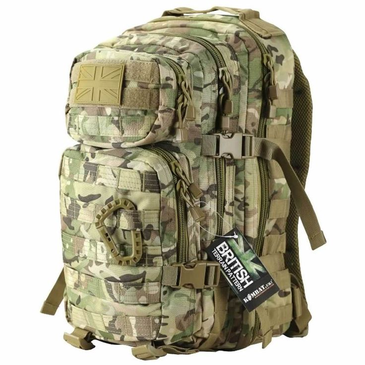 """The bottom pocket is larger at 8"""" x 10"""" x 2"""" and has Molle webbing loops on the front to enable you to attach molle compatible pouches if you require further kit. They can also be used to strap other equipment to the bag. 