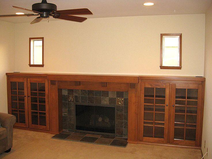 Craftsman Style Fireplace Mantels   Custom Arts and Crafts Fireplace Mantel and Side Bookcases