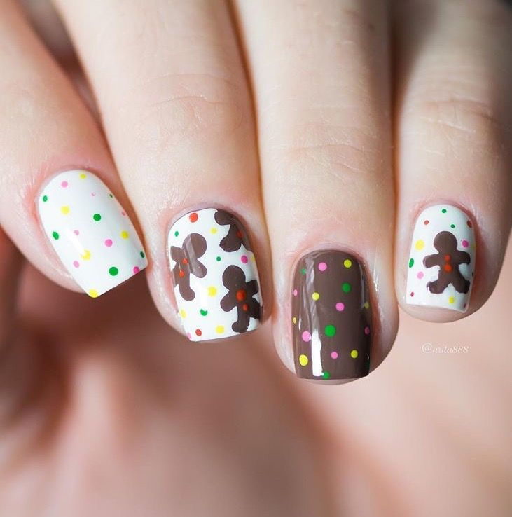 Yummy mani by the lovely @arita888 using our Gingerbread Man Nail Decals found at snailvinyls.com Available only until 12/31