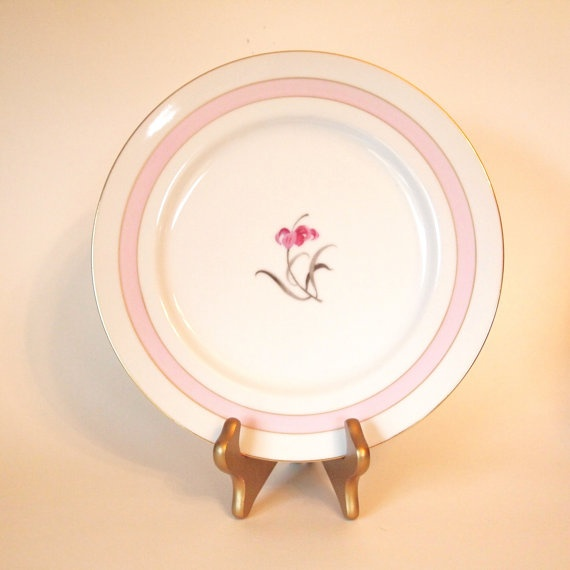 Vintage Mikado 'Sabrina' White and Pink Dinner Plate by HouseofLucien, $9.00