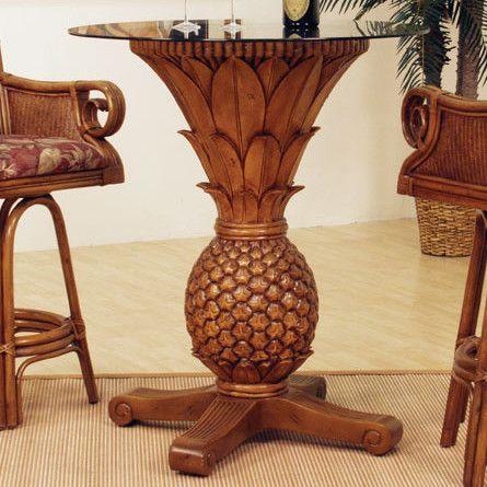 Sunset Reef Rattan Pineapple Pub Table for Sale | Wayfair