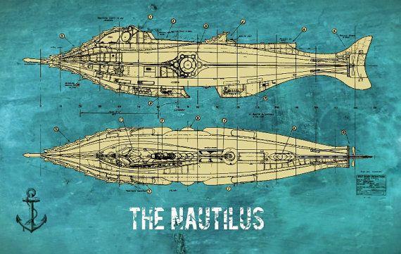 Nautilus victoriano Julio Verne Steampunk plano 8 x 12 impresión                                                                                                                                                                                 Más