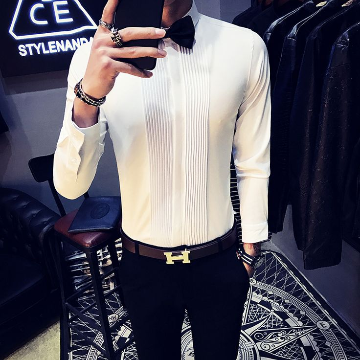 2017 Autumn New Men Tuxedo Shirts Long Sleeve Slim Fit Business Casual Shirt Men Fashion Solid. Click visit to buy #WeddingPartyDress #wedding #party #dress