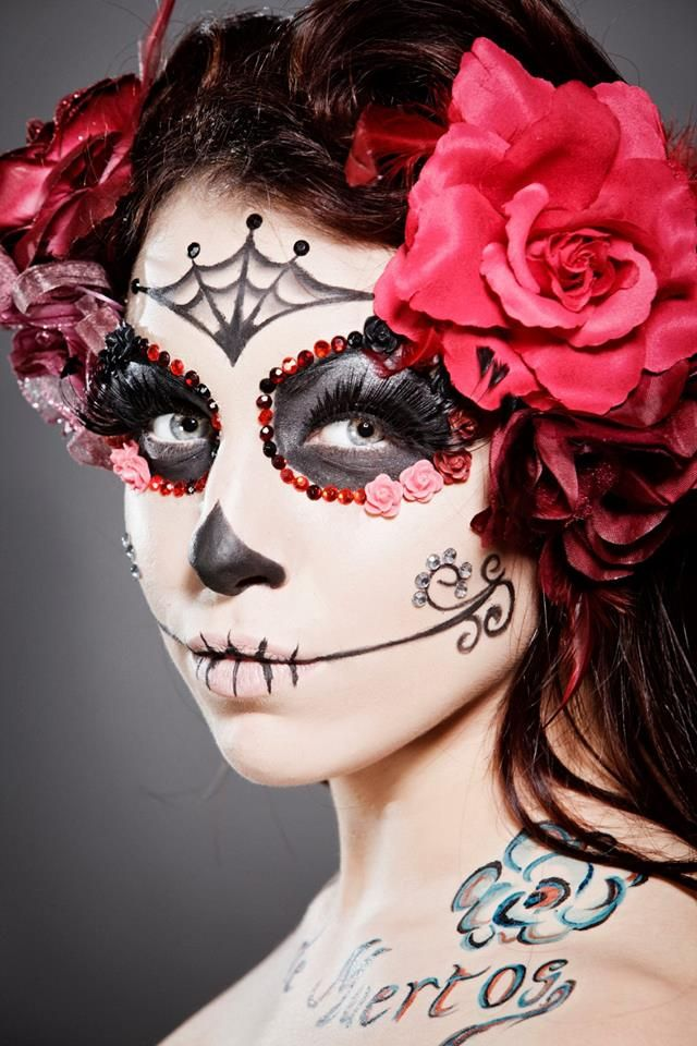 Sugar skull makeup design which incorporates 3D materials.                                                                                                                                                     More