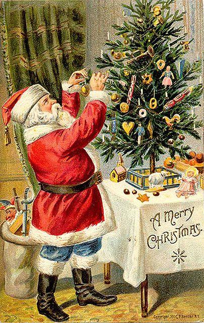 Merry Christmas vintage Santa decorating a tree