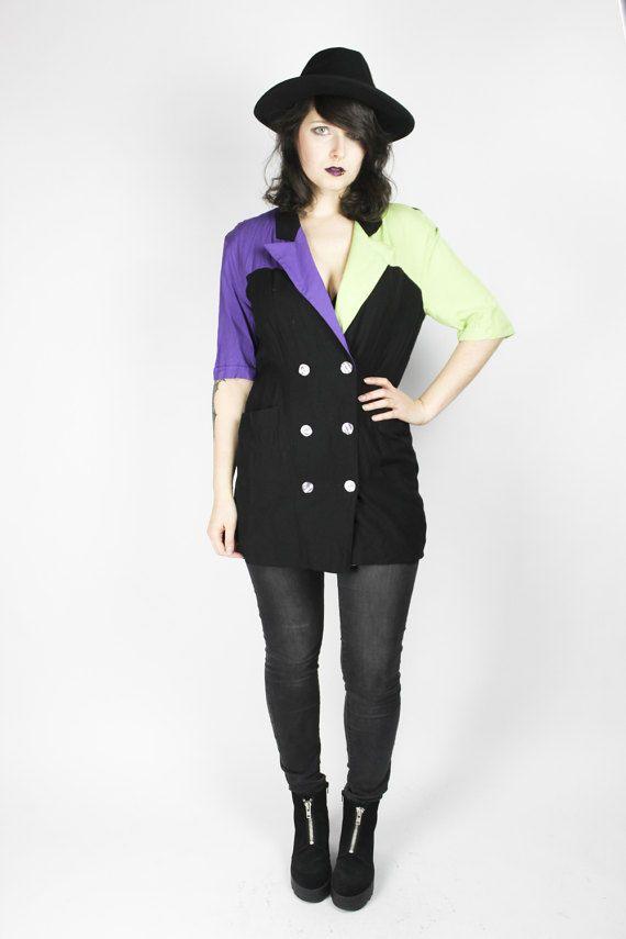 Vintage Bluse Blazer Grün Lila Jacke Sailor Chic von shttyfcky Blouse Blazer Purple Green Alternative Grunge Outfit