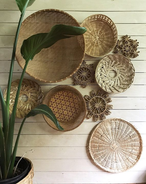 Boho Baskets Wicker Wall Basket Round Rattan Flat Basket Baskets On Wall Boho Basket Basket Wall Art