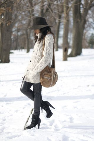 chunky sweater + leather pants + aw donna hobo