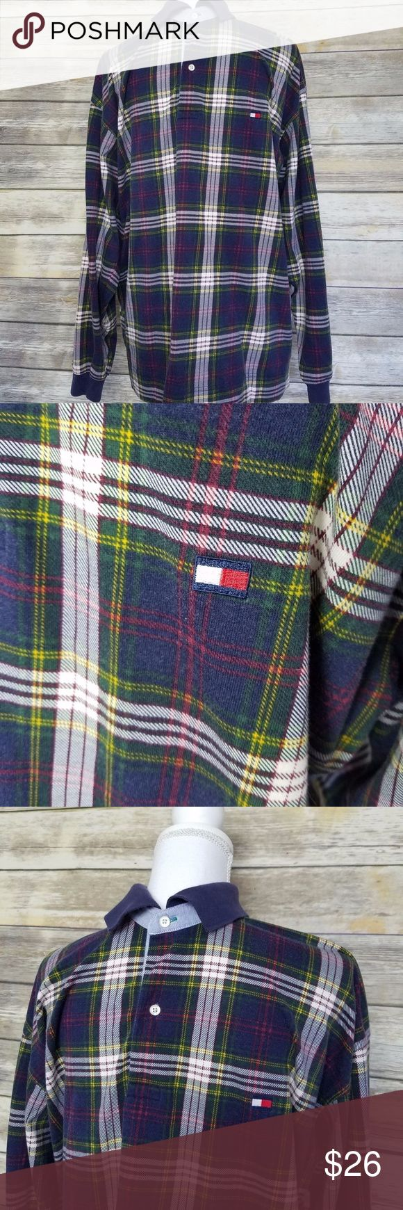 VTG Tommy Hilfiger Long Sleeve Polo Shirt Large L Vintage 90's Tommy Hilfiger Men's Long Sleeve Polo Shirt - Plaid - Size Large L  Great condition! Some signs of use as is typical with vintage items. No major stains or holes.  Item has been machine washed and is stored hanging in a clean smoke free environment.   100% Cotton   Approximate Measurements: Bust (Pit to pit): 24 1/2 inches Length (Middle of neck to bottom hem): 31 inches  Sleeve length (Middle of neck to sleeve cuff): 35 inches…