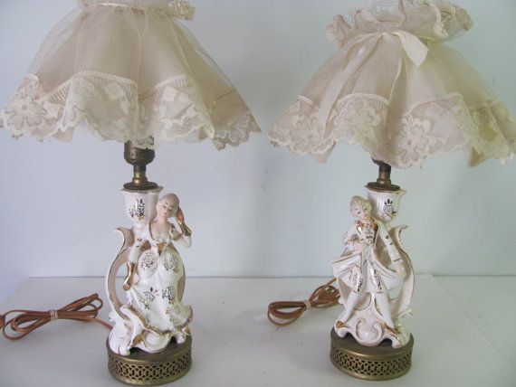 Vintage French Set Pair Of Victorian English Lamps