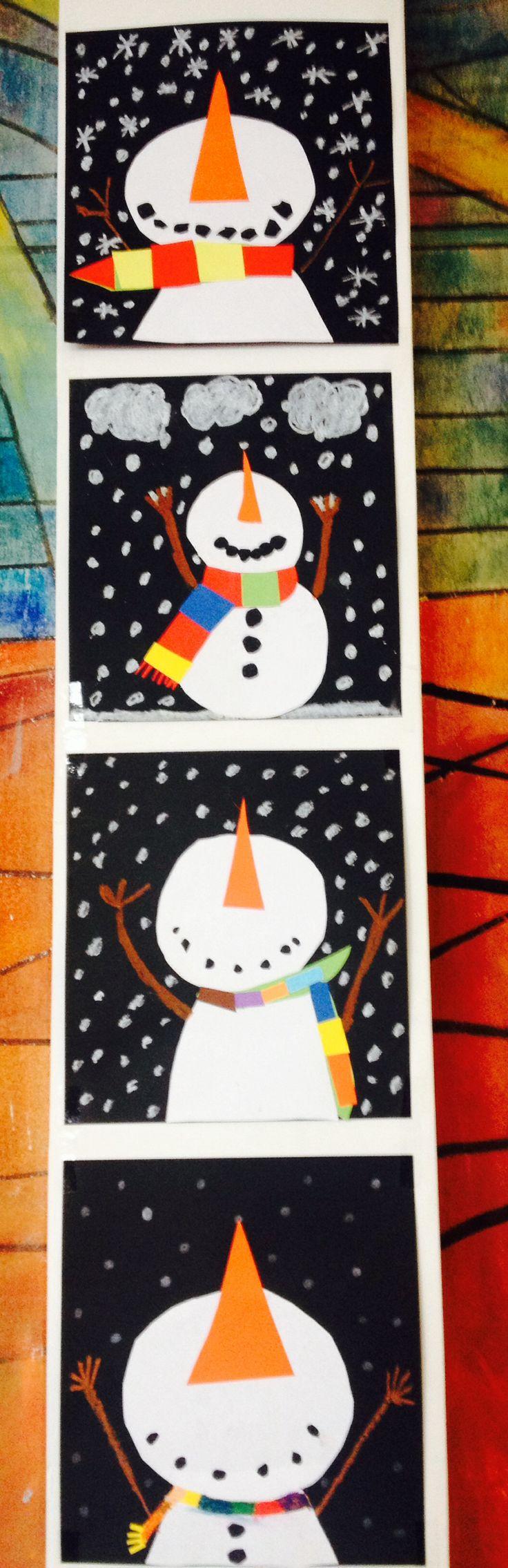 Schneemänner aus Tonkarton Klasse 3