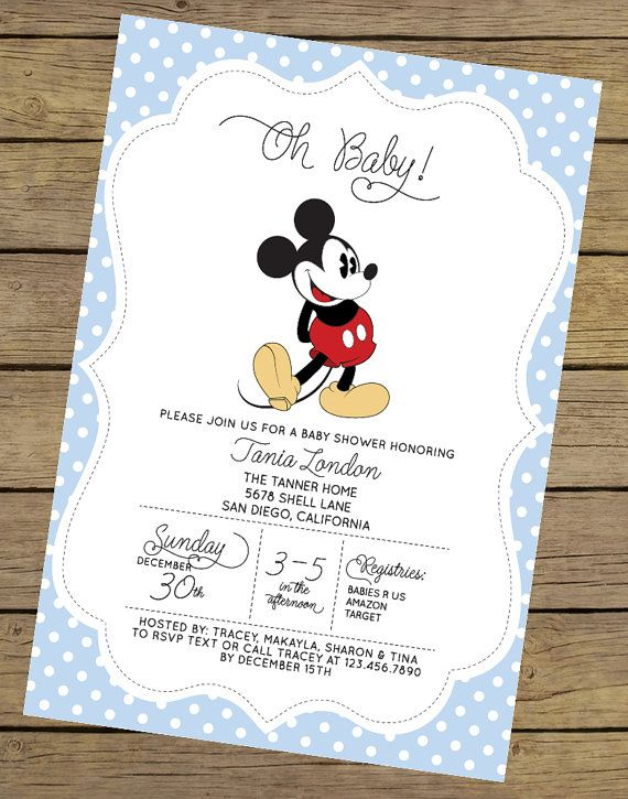 High Quality Mickey Mouse Baby Shower Invitation Boy Baby By CharlesAlexDesign