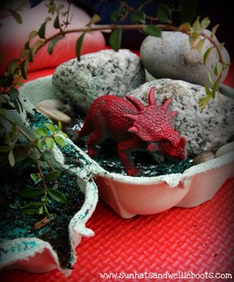 "Dinosaur World made from Egg Cartons ("",)"