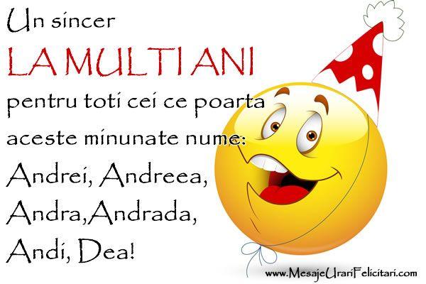 Un sincer La multi ani pentru toti cei ce poartaaceste nume minunate: Andrei, Andreea, Andra, Andrada, Andi, Dea!