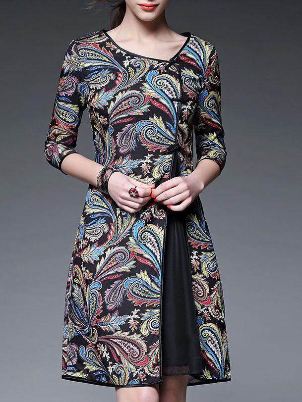 Black Paisley Crew Neck Half sleeve A-line Vintage Asymmetric Chiffon Midi Dress