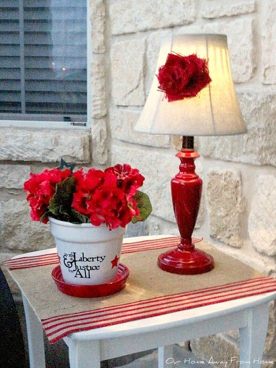 Thrift store lamp made over and given a solar light. Our Home Away From Home: A LITTLE RED LAMP