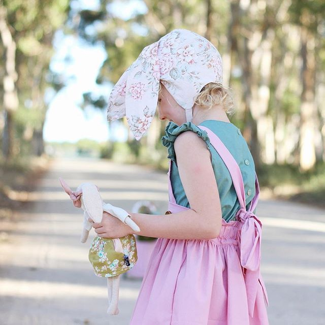 ~ Pretty as a Bunny ~ Gorgeously feminine, this Evergreen Bonnet with Bunny Ears was made from upcycled vintage fabric.  Pretty as a picture. 🙌💕🐇 📷 @lolly.and.me  #Regram via @twigandtale