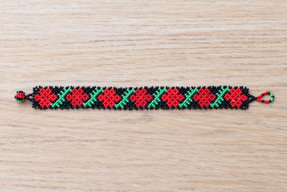 These bracelets, are made with traditional Huichol Patterns, they are mostly geometrical and floral, made with vibrant and contrasting colors, lovely to wear and very eye catching. If you like any of the patterns and you wish to ask for an specific colour or length, Ill be more than happy to